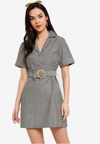 Tula Cruz black and white Resort Collar Mini Dress with Belt 8F5CEAA0F8F1A7GS_1