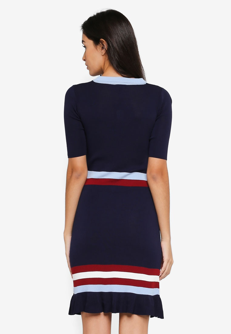 Navy with Knitted ZALORA Frill Dress Multicolour Base Hem Stripes AYxHwHI