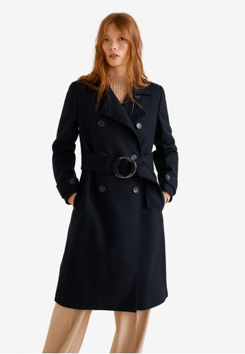 MANGO blue Belted Wool Coat 36296AAEC50A51GS_1