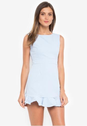 LA VIDA MODA blue Viv Sleeveless Flounced Dress 8CE46AA18BC996GS_1