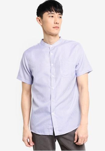 ZALORA BASICS white and blue Short Sleeve Stand Collar Shirt 34A21AA330F6EBGS_1