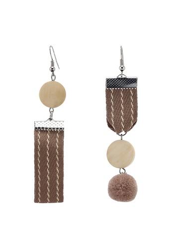 Saturation gold Mismatch Rustic Brown Drop Earrings FEAF0AC7E9D19DGS_1