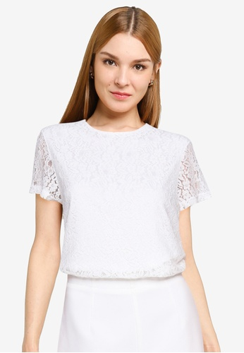 ZALORA OCCASION white Lace Boxy Top 20F48AAC2BA435GS_1