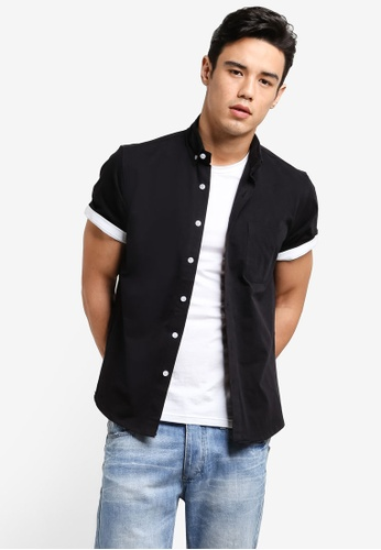 Flesh IMP black Side Zip Short Sleeve Shirt FL064AA85FCKMY_1