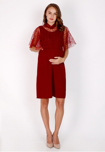 Chantilly red 2-in-1 Maternity/Nursing Dress Party Cape Lace 29DE2AA2588AB6GS_1