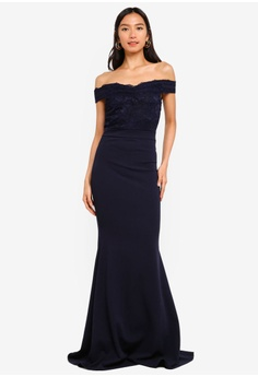 e1f5f29727f 25% OFF MISSGUIDED Bardot Lace Detail Fishtail Maxi Dress RM 269.00 NOW RM  201.90 Sizes 6 8 10 14