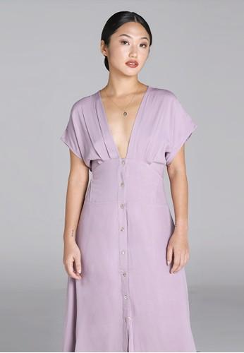 Wearstatuquo purple Sora V-neck Day Dress 35266AAEE4756AGS_1