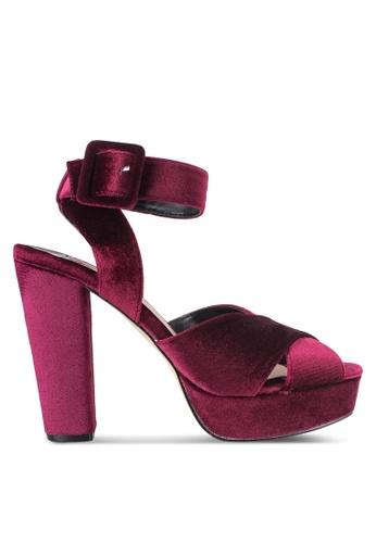 Dorothy Perkins red Burgundy 'Ruby' Velvet Sandals DO816SH09YGSMY_1
