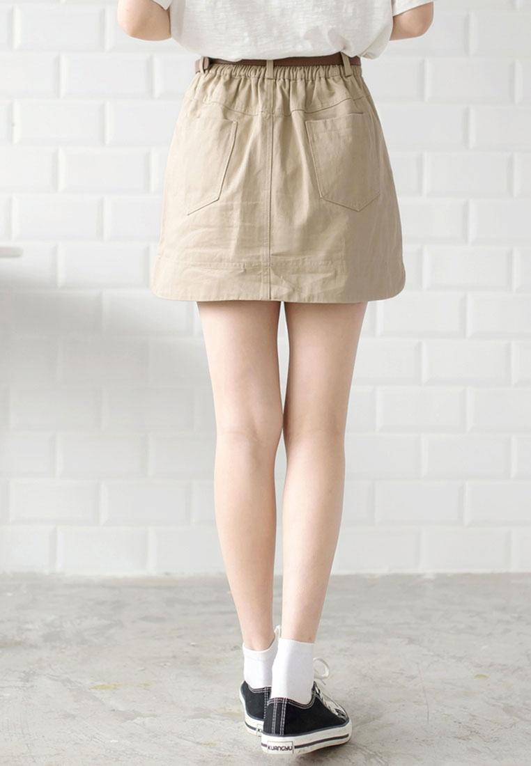 Tokichoi Mini Skirt Fly Button Casual Khaki qrwa0q