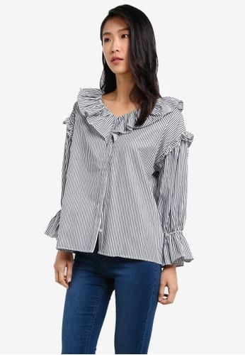 KLEEaisons black Ruffled V-Neckline Long Sleeve Blouse KL492AA0RZMHMY_1