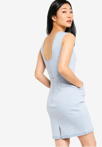 Something Borrowed blue Scoop Back Denim Dress 863FCAA937141CGS_1