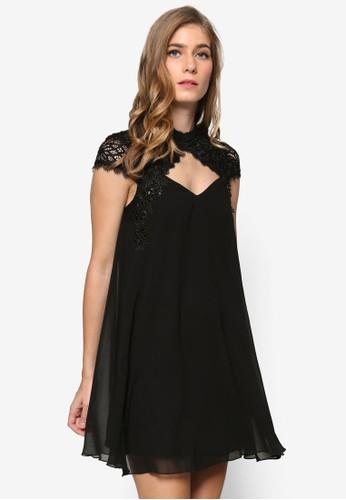 雪紡花邊挖背高領蓋袖連身裙,zalora 心得 ptt 服飾, 洋裝