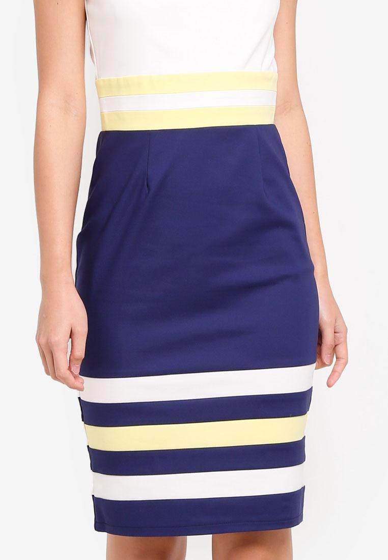 Contrast Navy Dolls Block Cream Paper Dress Colour Lemon HT5v1pnx5w