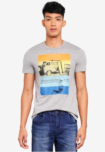 OVS 灰色 短袖印花T恤 21C09AAFD69F1DGS_1