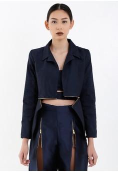 [PRE-ORDER] Navy Blue Twill Blazer with Metallic Zipper Details