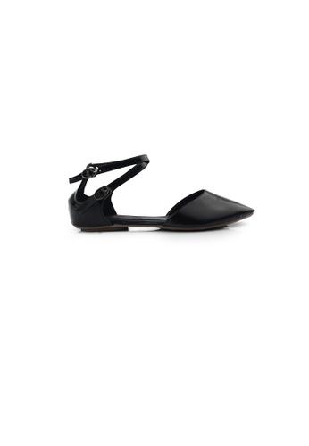 SHINE black Ankle Strap Point Toe Flats 15C4BSH938D6E1GS_1