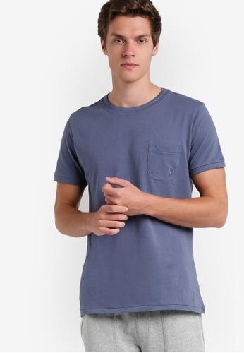 MANGO Man blue Pocket Cotton T-Shirt MA449AA64EOXMY_1