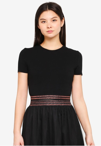 Something Borrowed black Stripe Trim Crop Top 9B51DAA1F57F4AGS_1