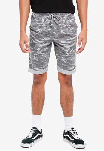 UniqTee grey Camo Print Jersey Shorts 9972EAA753203AGS_1
