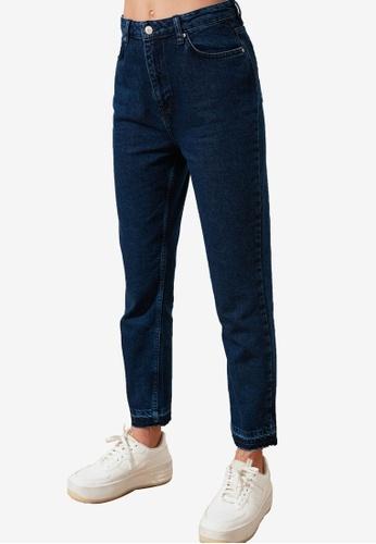 Trendyol navy High Waist Mom Jeans BF326AAF8DD54DGS_1