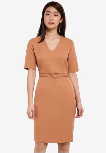 ZALORA brown Tailored Belted Dress 8CB71AAD2A1020GS_1