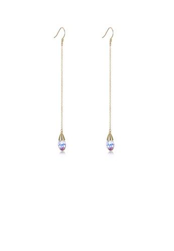 Glamorousky white 925 Sterling Silver Elegant Fashion Water Drop Shape Long Tassel Earrings with  Austrian Element Crystal B814EAC461080DGS_1