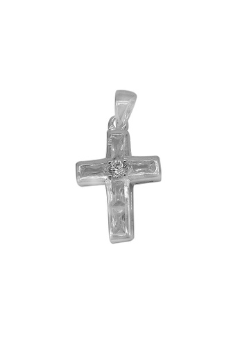 Silverworks silver Cross with 4 Baguette abd 1 Round Zirconia Charm 0FD9DACB61F131GS_1