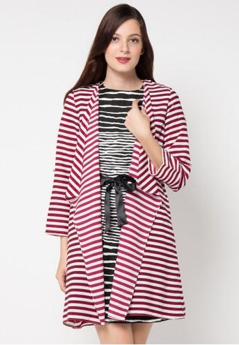 EPRISE red Cardigan Catrine Crepe Stripe EP457AA30PTTID_1