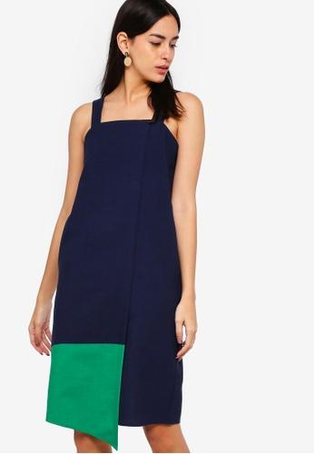 ZALORA green and navy Overlapped Dress 02DB1AA10246BEGS_1
