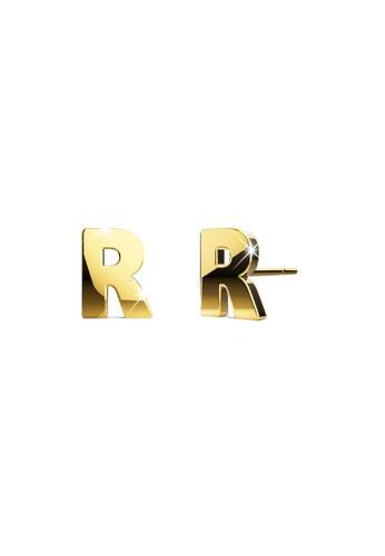 Bullion Gold gold BULLION GOLD Dainty Alphabet Letter Earring Gold Layered Steel Jewellery - R 223E0ACF09373EGS_1