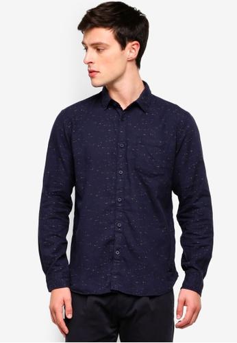 ESPRIT 海軍藍色 印花長袖襯衫 37E08AA776CA9BGS_1