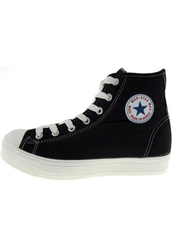Maxstar 黑色 新款韩国鞋C1-7H時尚帆布布混合女黑色 US Women Size MA345SH30HDPTW_1