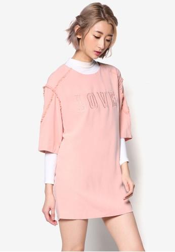 LOVE 文字精緻荷葉飾連身裙、 服飾、 洋裝jucyjudyLOVE文字設計荷葉飾連身裙最新折價