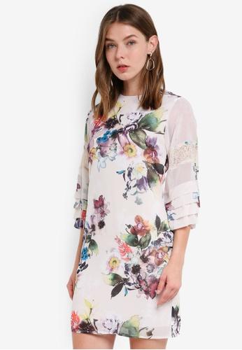 Little Mistress multi Floral Lace Mini Dress 3A0C3AA345FFF0GS_1