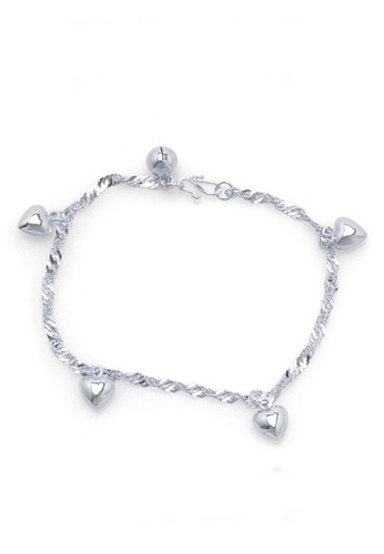 Elfi silver Elfi Genuine Solid 925 Silver Wave Wave Hearts Bracelet SB-3M EL186AC65ELIMY_1