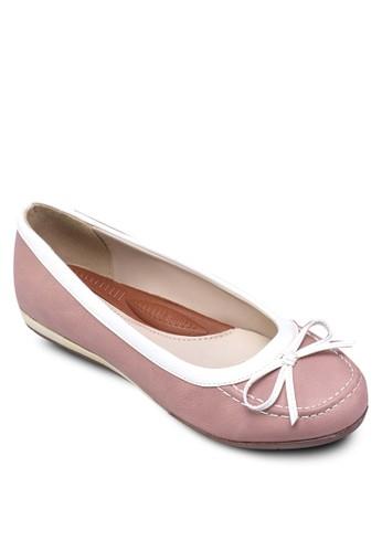 撞色邊飾平zalora 衣服尺寸底鞋, 女鞋, 芭蕾平底鞋