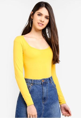 60ff7cd1f867 Miss Selfridge yellow Ochre Long Sleeve Scoop Neck Body F145DAAC825CC8GS_1.  CLICK TO ZOOM