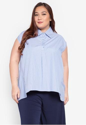 Hint blue Hint Plus Size Sleeveless Polo Blouse HI373AA0KJ83PH_1