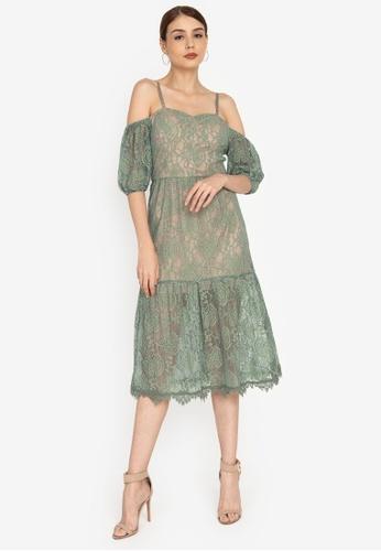 ZALORA OCCASION green Cold-Shoulder Corded Lace Midi Dress 7141AAA1A7A8E5GS_1