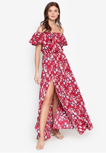 Purple Shore red Floral Ruffles Off Shoulder Dress 4DADFAA8C784F4GS_1