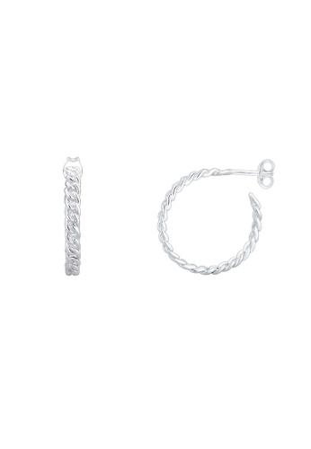 ELLI GERMANY silver Elli Germany Earrings Creole Braided Blogger Trend 925 Sterling Silver DFE32ACFC2652FGS_1