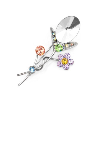 Glamorousky silver Gleaming Flower Brooch with Multi-colour Austrian Element Crystals and Silver CZ 0180EAC45C2369GS_1