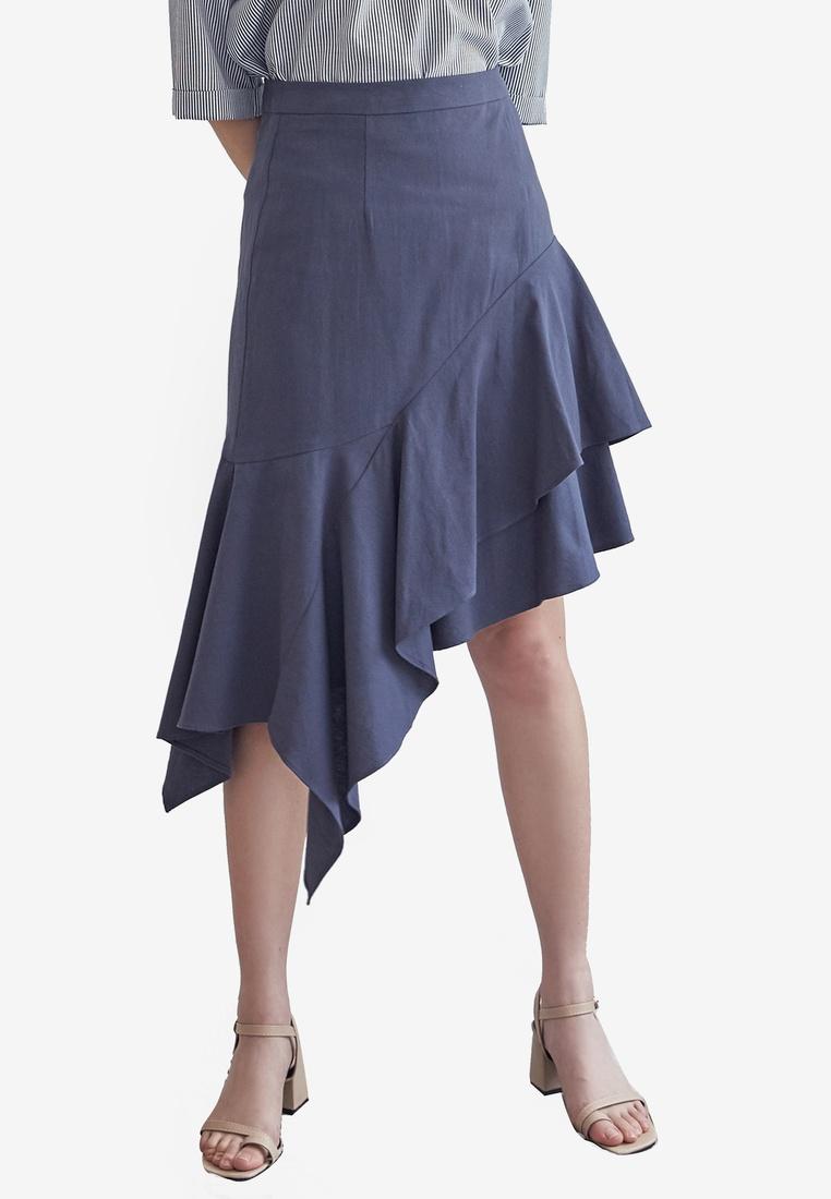 Linen NAIN Flare Asymmetric Skirt Navy d1qX61