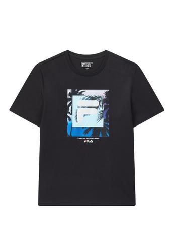FILA navy Theme Printed F-box Logo Cotton T-shirt A17F9AAA6062FCGS_1