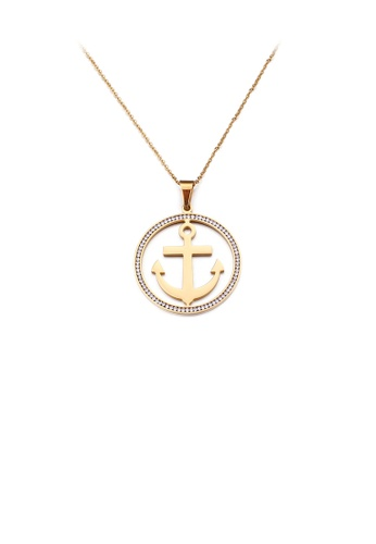 Glamorousky white Fashion and Simple Plated Gold Anchor Geometric Round 316L Stainless Steel Pendant with Cubic Zirconia and Necklace 4EAB4ACD80FA53GS_1