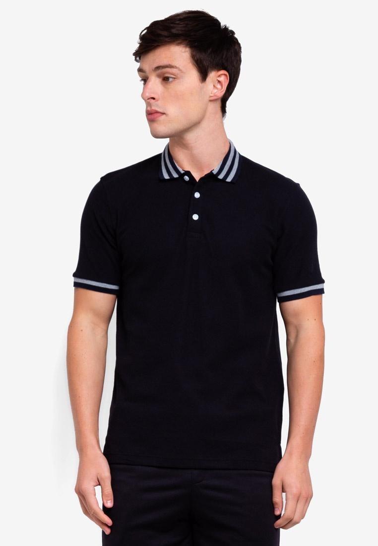 Shirt UniqTee Slim Stripe Bomber Black Fit Polo Wwff1xIq