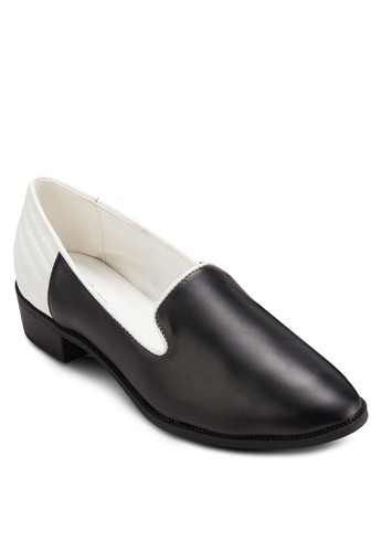 雙色粗跟樂福鞋, 女鞋, esprit官網鞋