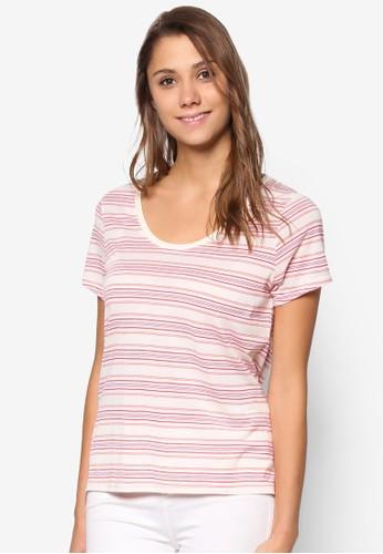 Luna 條紋大圓領TEE、 服飾、 T-shirtFactorieLuna條紋大圓領TEE最新折價