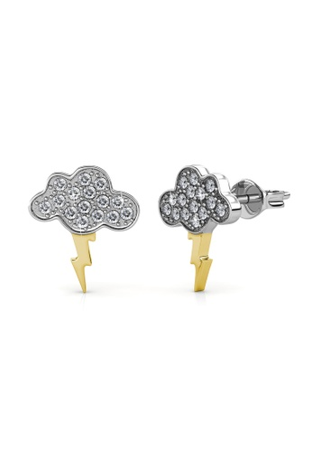 Her Jewellery silver Cloudy Sparks Earrings - Made with premium grade crystals from Austria 2D4A0AC976DE23GS_1