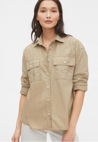 GAP beige Camp Shirt DD506AAD11B788GS_1